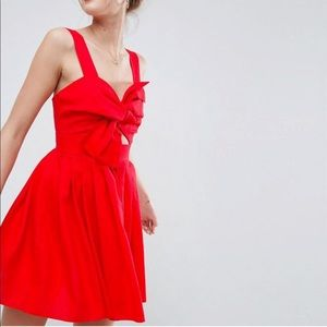 ASOS bow detail cut out skater dress